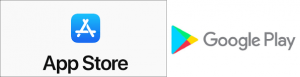 Image: Apptstore and Google play Logos, both are official application stores for iOS and Android respectively