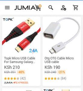 jumia usb cables screenshot