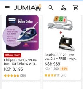 jumia iron boxes screenshot