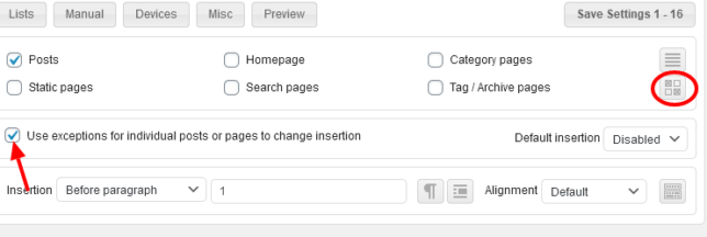 settings in for individual posts