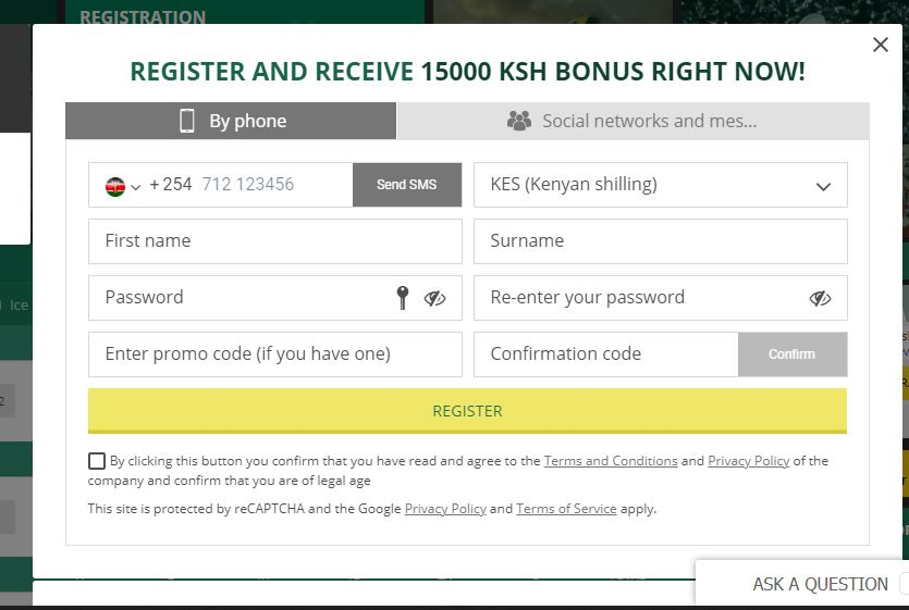 Betwinner Kenya registration