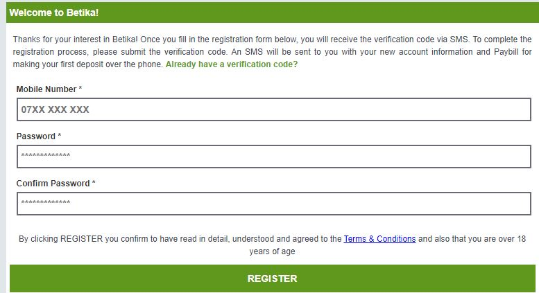 Betika registration page