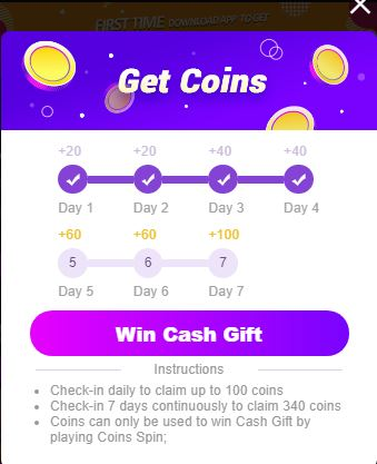 check in daily gifts
