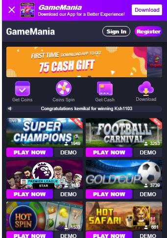 Gamemania app