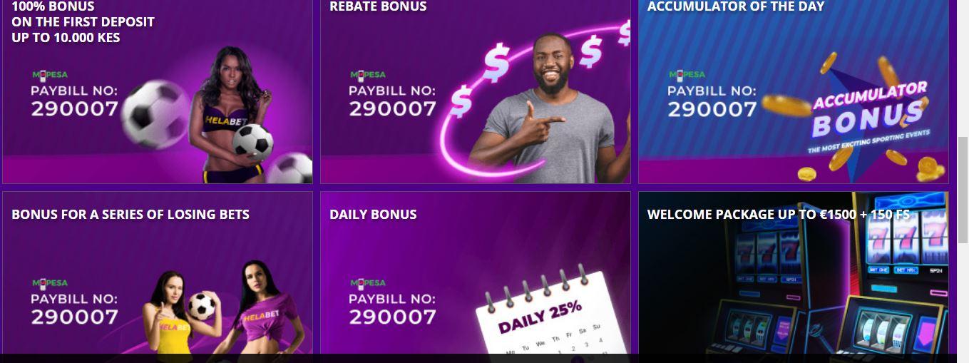 bonuses on helabet kenya