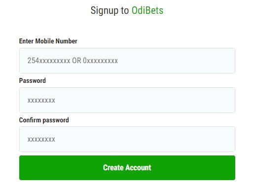 odibets Sign up page