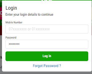 login form on odibets