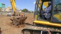breaking ground for construction