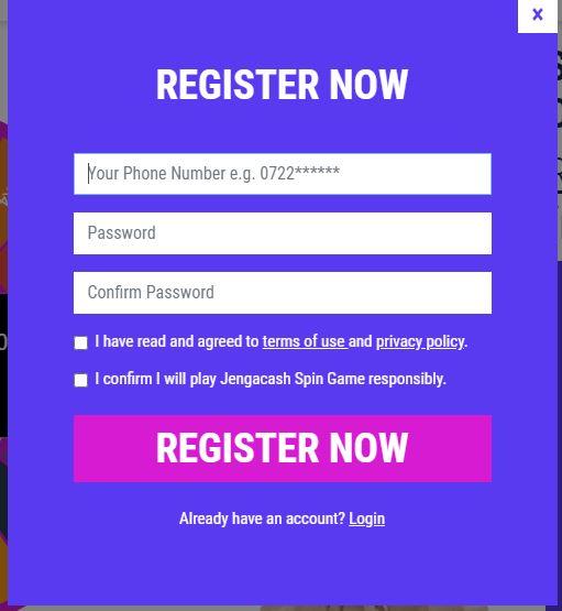 Jengacash Registration page